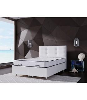 Lit Coffre LBDM - LASER - Grande capacité de rangement- Tête de lit incluse - L'équivalent d'une armoire sous votre matelas
